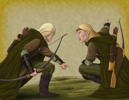 Elven Trackers by quellion