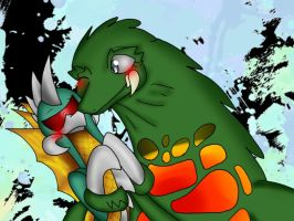Gigan X Biollante  by YourFriendDestoroyah