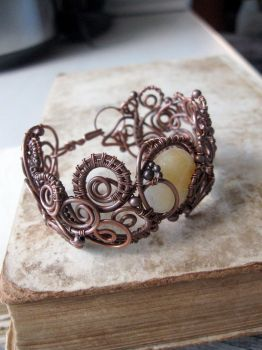 wire wrapped bracelet copper cuff by Lirimaer86