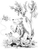 Fox and Wolf Cubs Playing by DragonPress