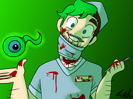 Jacksepticeye as Dr. Schneeplestein by ninja-narwhal