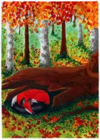 Fox and autumn colours by Dalanatha