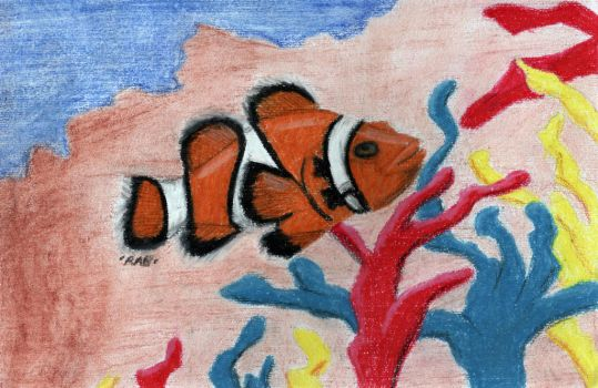 Oil Pastel Clown Fish In Coral by Werepyre-Queen