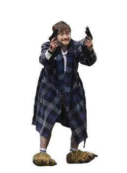 Daniel Radcliffe Holding Two Guns by SuimocoSquidfox