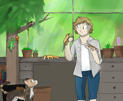 Sunny and her gecko sanctuary by The-puppylily