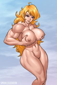 Blonde Muscle Girl Nude by elee0228