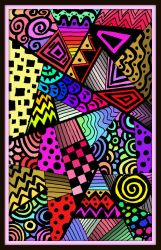 Oopsie Doodle Abstract 8-16-18 in color with frame by MelianMarionette