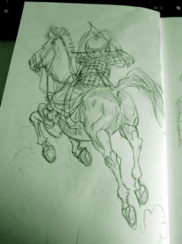 Mongolian warrior by pietro-ant