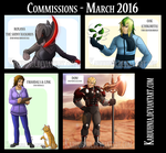 Commissions - March 2016 by karuuhnia
