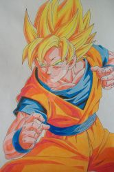 ''I'm ready!'' Super Saiyan Son Goku -colored- by SakakiTheMastermind