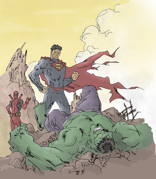 Superman vs Hulk drawing (colored) by electronicdave