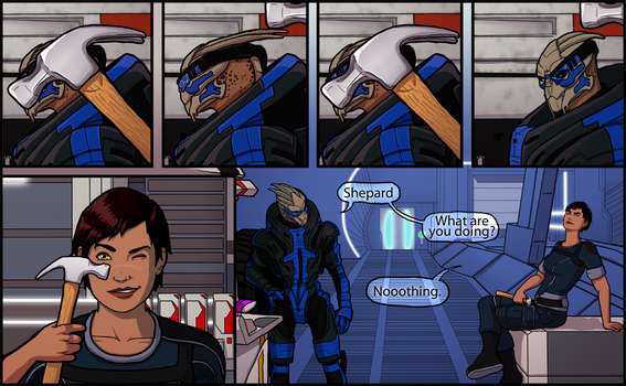 Messing With Garrus by HelenKG