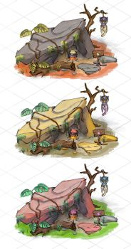 Isometric mystic hut, color variation sketch 4-6 by NickProkoArt