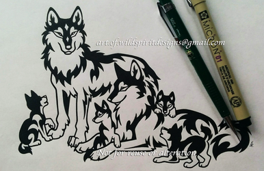 Wolf Group - Tribal Family Design by WildSpiritWolf