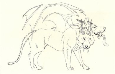 Saber Toothed Manticore/Cerberus Hybrid Commission by TwinWolfSister