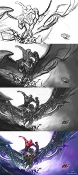 Spider-man capture Vulture process by Quan-Xstyle