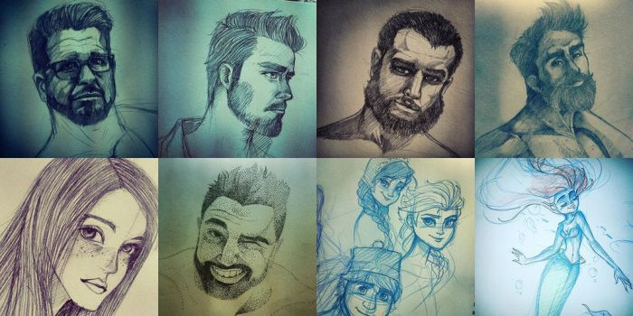 my potrait work and others by Charming-Manatee