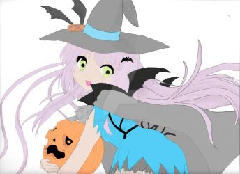Cute witch with her pumpkin by angeleyes1279