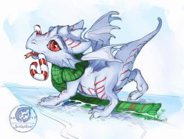 Dragon whelp on ice by The-SixthLeafClover