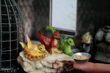 Feeding Baby Dragons! Handmade Polymer Clay Sculpt by ReveMiniatures
