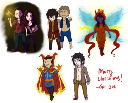 Christmas Gift Chibi's by Behaxel
