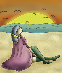 Relaxing by the sea(December trade TheWalshinator) by Femaledragonknight