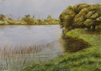 Watercolor study - Cruces river by mentat0209