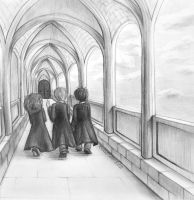 the trio walking to class by RavenDANIELS