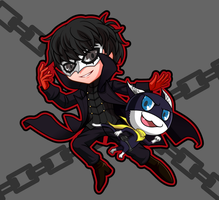 Persona5 Chibi characters Hero and Morgana by higejackson