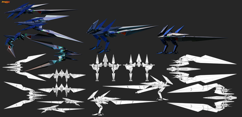 FX-4000 v3 Prototype Arwing final render sheet by GunZcon
