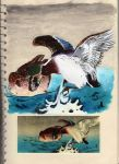 Japanese duck painting by Ljtigerlily