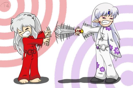 Chibi Battle: Inu vs. Sesshy by dissolved-oxygen