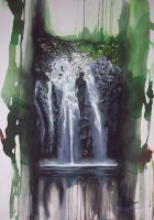 waterfall with female in water by twbeveridge