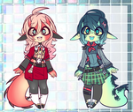 Dino Girls Adopts // AUCTION CLOSED by DyeDy