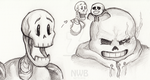 Skeleton bros in pencil by mitani-chan