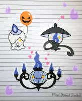 Litwick/Lampent/Chandelure Stickers by pixelboundstudios