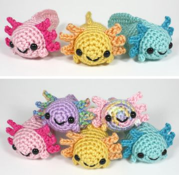 Colorful Crocheted Axolotls by syppahscutecreations