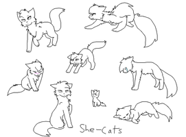 She-cat bases by FlyingWithFire
