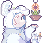a good boi tending to his plant by wishtears