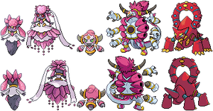 (Mega) Diancie, Hoopa, and Volcanion by Quanyails