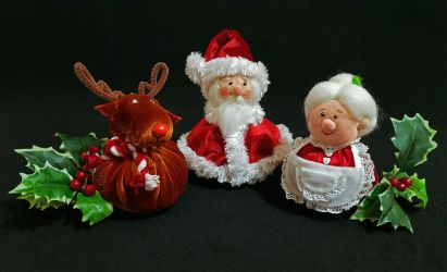 Santa, Mrs. Claus and Rudolph by RosaRubea