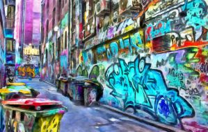 Painted Alley by oldhippieart