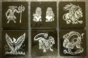 Commission Mythology Coasters by ckatt01