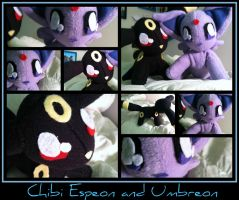 Chibi Espeon and Umbreon - Second Gen Eeveelutions by CeltysShadow