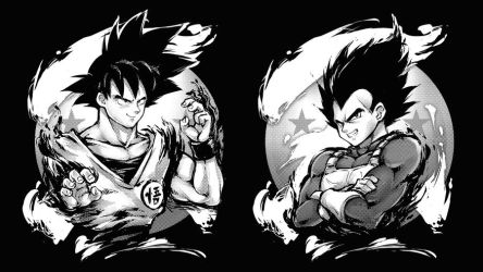 GOKU VS VEGETA by RobotCatArt