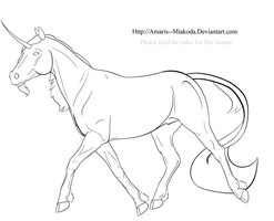 Unicorn Lineart - Free to DA by Bethie-Bathory