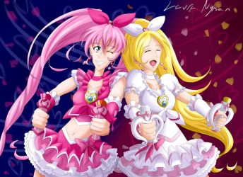 Suite Precure - Cure Melody and Cure Rhythm by Laura-Moon97