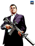 Grand Theft Auto V Michael with Gun 4K Render by eduard2009