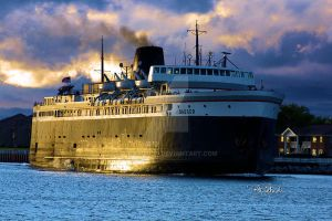 S.S. Badger coming into the Ludington Harbor. by B-Richards