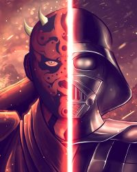 Darth Maul and Vader by SergiRR